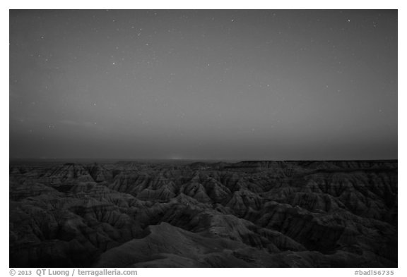 Badlands from above at night. Badlands National Park (black and white)