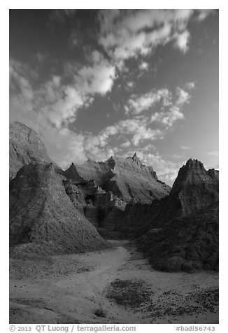 Rugged peaks at dawn. Badlands National Park (black and white)
