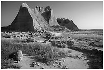 Brule formation butte raising from prairie. Badlands National Park, South Dakota, USA. (black and white)