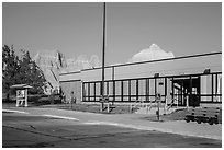Ben Reifel Visitor Center. Badlands National Park, South Dakota, USA. (black and white)