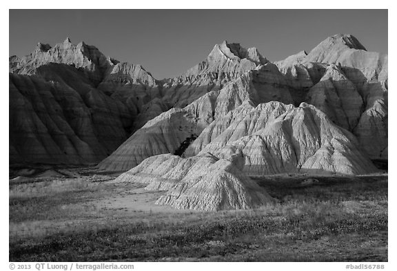 Prairie and badlands at sunset. Badlands National Park (black and white)