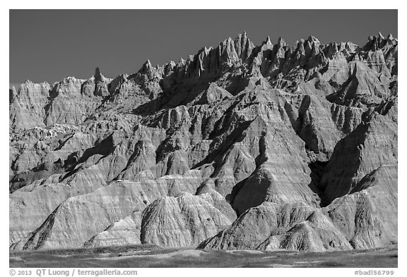The Wall raising above prairie. Badlands National Park (black and white)