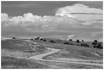 Sage Creek Rim Road. Badlands National Park, South Dakota, USA. (black and white)