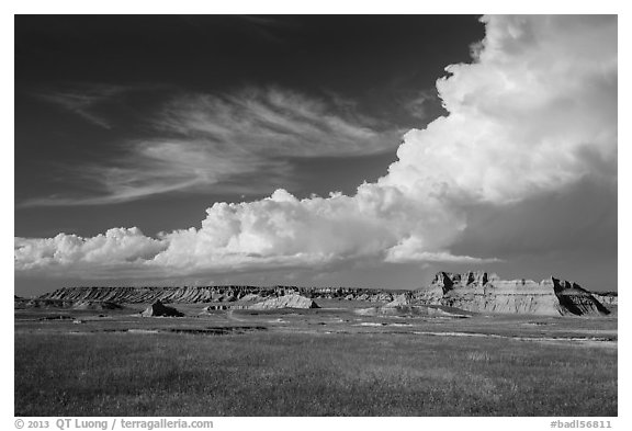 Afternoon clouds above buttes and prairie, South Unit. Badlands National Park (black and white)