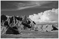 Badlands and afternoon clouds, Stronghold Unit. Badlands National Park, South Dakota, USA. (black and white)