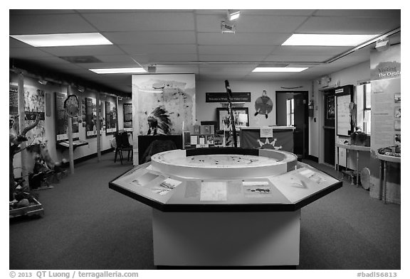 Inside White River Visitor Center. Badlands National Park (black and white)