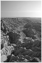 Looking east towards the The Stronghold table, South unit, morning. Badlands National Park, South Dakota, USA. (black and white)