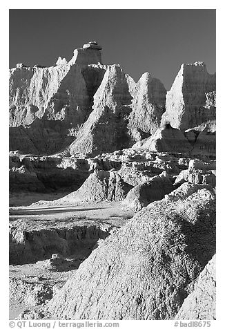 Erosion landforms at Cedar Pass, early morning. Badlands National Park (black and white)