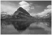 Peak above Swiftcurrent lake. Glacier National Park, Montana, USA. (black and white)