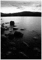 Lake McDonald at sunset. Glacier National Park, Montana, USA. (black and white)