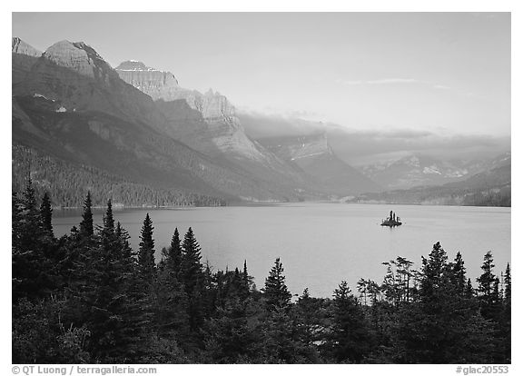 St Mary Lake and Wild Goose Island, sunrise. Glacier National Park (black and white)