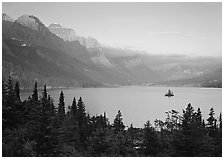 St Mary Lake and Wild Goose Island, sunrise. Glacier National Park ( black and white)