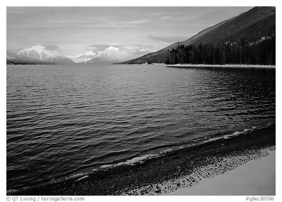 Lake McDonald in winter. Glacier National Park (black and white)