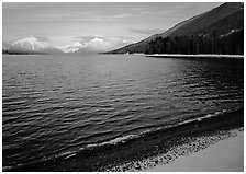 Lake McDonald in winter. Glacier National Park ( black and white)