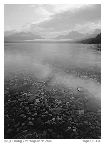 Pebbles, lake Mc Donald, and foggy mountain range, early morning. Glacier National Park (black and white)
