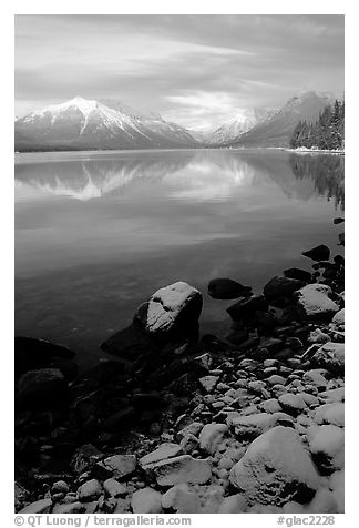 Shores of Lake McDonald in winter. Glacier National Park (black and white)