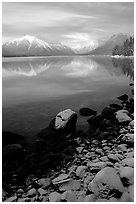 Shores of Lake McDonald in winter. Glacier National Park, Montana, USA. (black and white)