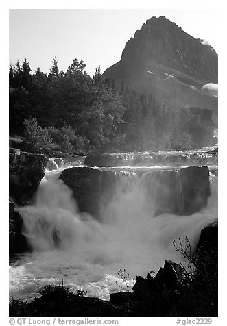 Waterfall in Many Glaciers area. Glacier National Park (black and white)