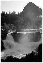 Waterfall in Many Glaciers area. Glacier National Park ( black and white)