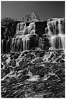 Waterfall at hanging gardens, Logan pass. Glacier National Park, Montana, USA. (black and white)