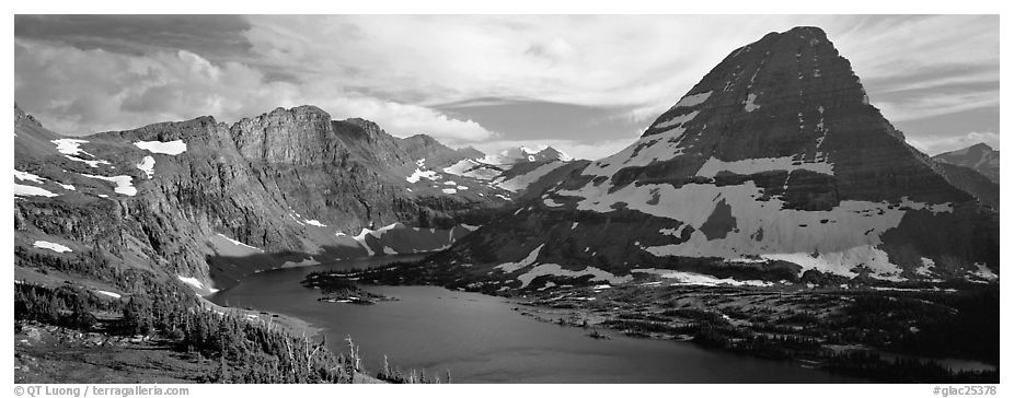 Alpine lake and triangular peak. Glacier National Park (black and white)