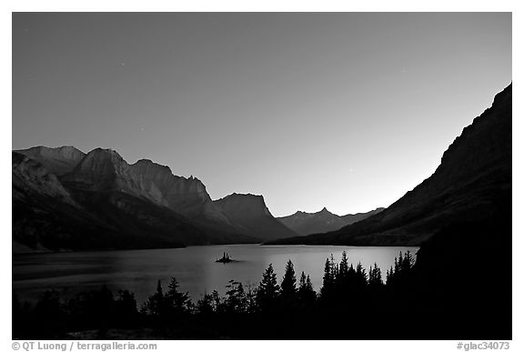 St Mary Lake at night with stars. Glacier National Park (black and white)