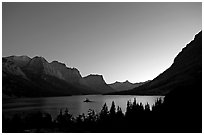 St Mary Lake at night with stars. Glacier National Park, Montana, USA. (black and white)