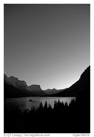 Stary sky above St Mary Lake. Glacier National Park (black and white)