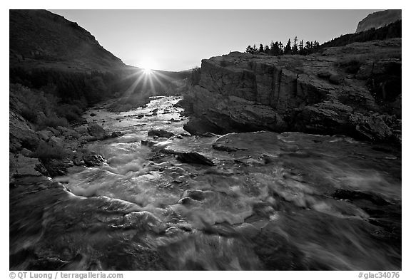 Outlet stream of Swiftcurrent Lake, sunrise. Glacier National Park (black and white)