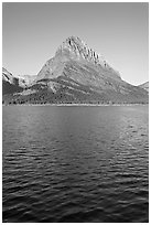 Grinnell Point across Swiftcurrent Lake, sunrise. Glacier National Park ( black and white)