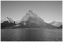 Swiftcurrent Lake, and Grinnell Point, Many Glacier. Glacier National Park ( black and white)