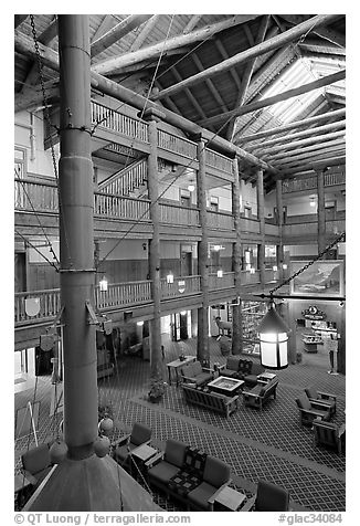 Main lobby of Many Glacier Lodge. Glacier National Park (black and white)