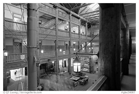 Main hall of Many Glacier Lodge. Glacier National Park (black and white)