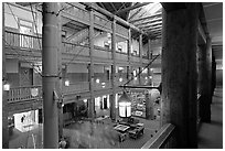 Main hall of Many Glacier Lodge. Glacier National Park ( black and white)