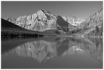 Lake Josephine and Mt Gould, morning. Glacier National Park, Montana, USA. (black and white)
