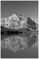Mt Gould reflected in Lake Josephine, morning. Glacier National Park ( black and white)