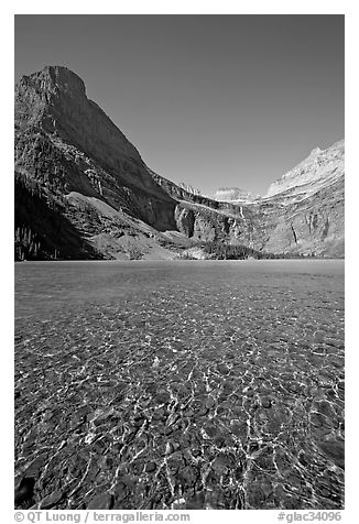 Pebbles, Grinnell Lake and Angel Wing, morning. Glacier National Park (black and white)