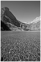 Pebbles, Grinnell Lake and Angel Wing, morning. Glacier National Park ( black and white)