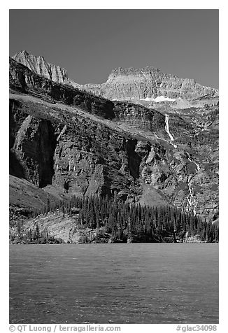Grinnell Falls and Grinnell Lake turquoise waters. Glacier National Park (black and white)