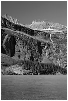 Grinnell Falls and Grinnell Lake turquoise waters. Glacier National Park, Montana, USA. (black and white)