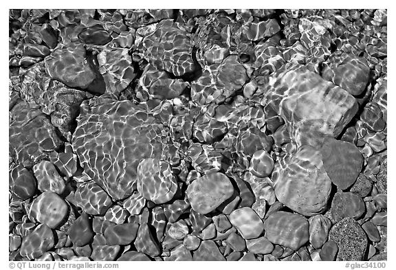 Pebbles and wavelets, Grinnel Lake. Glacier National Park (black and white)