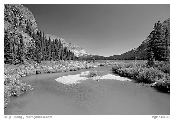 Stream at the head of Josephine Lake. Glacier National Park (black and white)