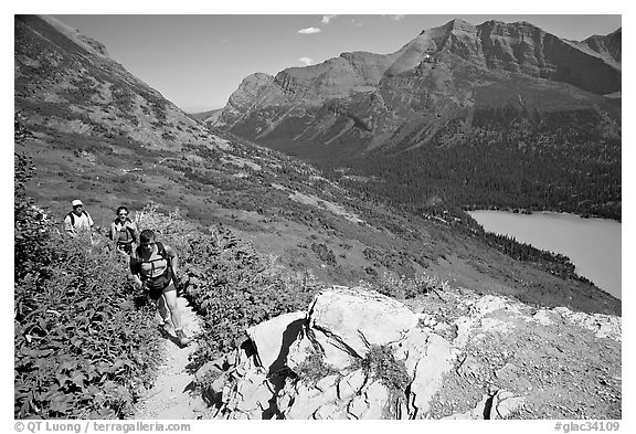 Women hiking on the Grinnell Glacier trail. Glacier National Park (black and white)