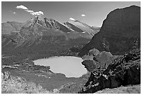 Grinnell Lake, Angel Wing, and Allen Mountain, afternoon. Glacier National Park ( black and white)