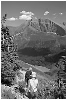 Hiking down the Grinnell Glacier trail, afternoon. Glacier National Park, Montana, USA. (black and white)