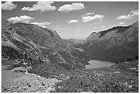 Many Glacier Valley with Grinnell Lake and Josephine Lake. Glacier National Park ( black and white)