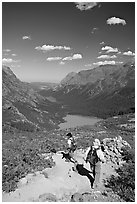 Switchback on trail, with Grinnel Lake and Josephine Lake in the background. Glacier National Park, Montana, USA. (black and white)