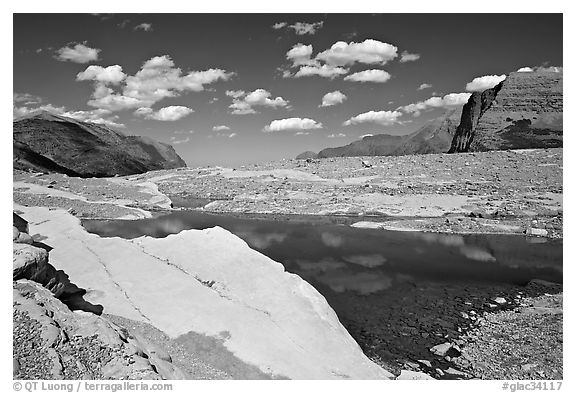 Slabs and pool. Glacier National Park (black and white)