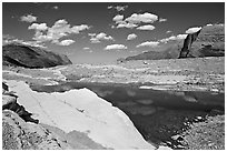 Slabs and pool. Glacier National Park, Montana, USA. (black and white)