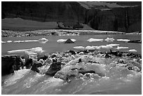 Outlet stream of glacial lake. Glacier National Park ( black and white)